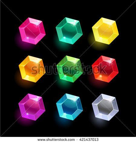 Set of cartoon hexagon different color crystals,gemstones ...