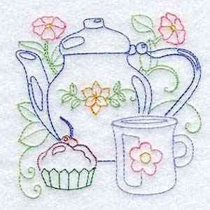 Line Art Tea Pots Embroidery M