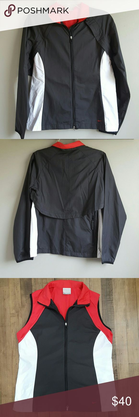 Nike FitStorm Golf Jacket Light weight Black, White and Hot Pink Golf jacket! Sleeves easily zip off to become a vest with breathable hot pink fabric beneath. Excellent Condition! Nike Golf Jackets & Coats Utility Jackets