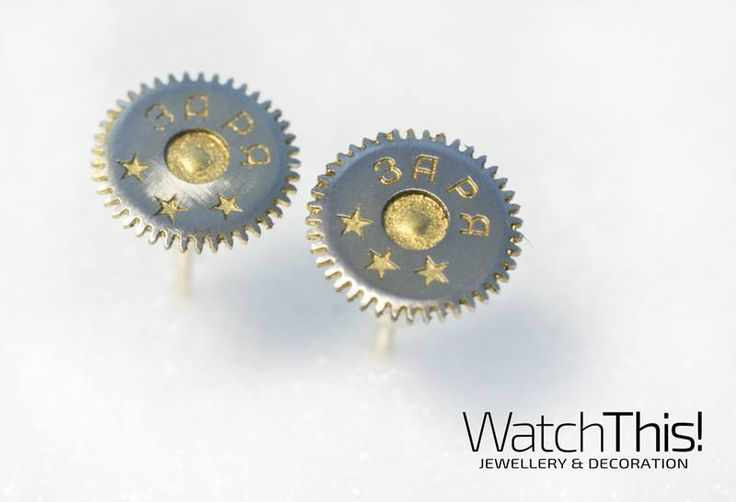 Earrings made of elements old watch.