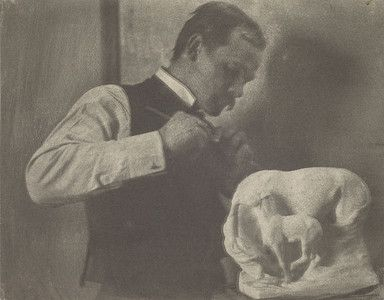 """""""Solon Borglum Carving 'Snowdrift,'"""" 1902, Gertrude Kasebier. University of Delaware Collection, gift of Mason E. Turner Jr, 1978. Featured in March 2013 article, """"Gertrude Kasebier: Two Exhibitions In Delaware."""""""