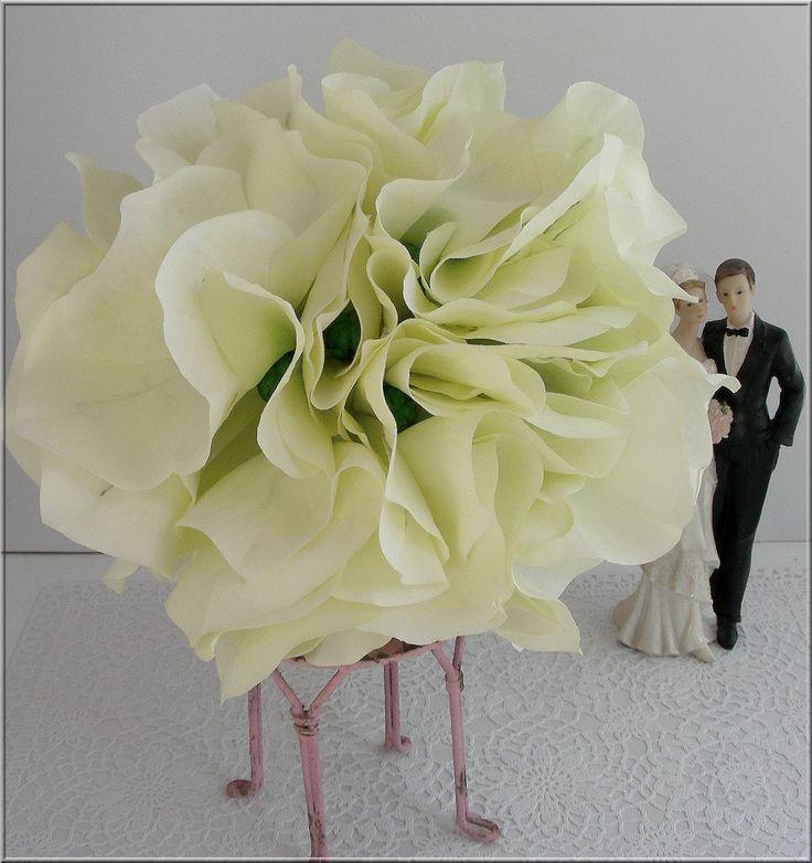 Bouquet de mariée romantique - Fleurs tissu - écru/Vert - Perles - mariage - wedding flower : Accessoires de maison par ladyplazza