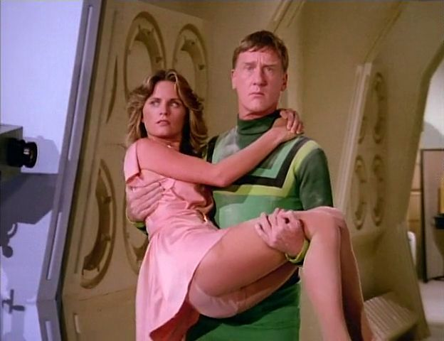 """Heather Menzies and Patrick Gorman from the """"Logan's Run"""" television series."""