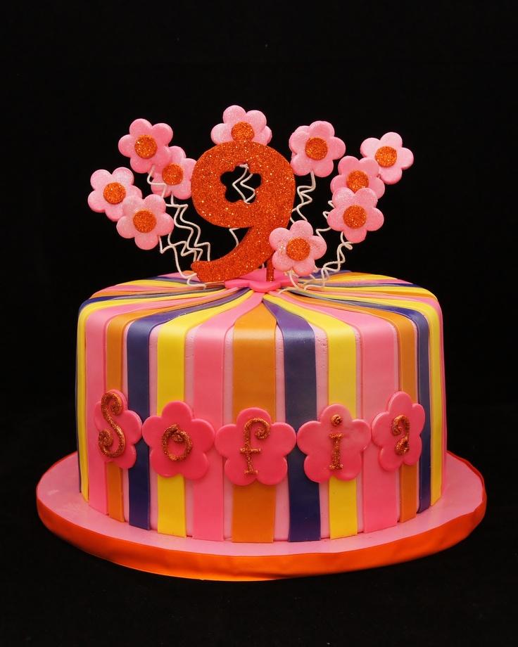 Flower Power Cake For 9th Birthday