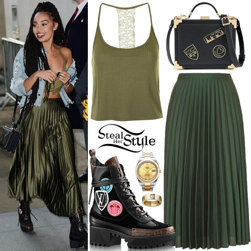 Leigh-Anne Pinnock arrived to BBC Radio 1 in London wearing a Lace Back Cami ($8.00) and a Satin Pleated Midi Skirt ($60.00 – wrong color) both by Topshop, an Aspinal Of London Trunk Clutch ($540.69), her Rolex Datejust II Watch ($13,295.00), a Cartier LOVE Yellow Gold Diamond Ring ($3,500.00) and Louis Vuitton Checkpoint Platform Desert Boots ($1,330.00).