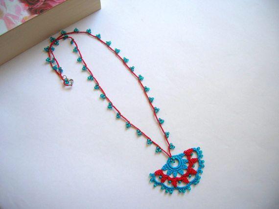 Turkish Oya Necklace Crochet Necklace Oya Beaded Necklace