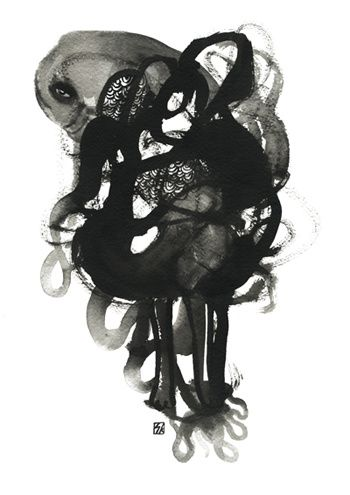"""S O F I A  K A R L S T R Ö M -  """"Ink Chronicles"""" - ink on paper"""