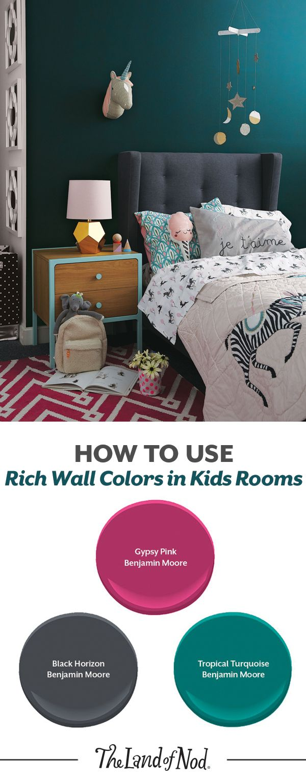 What's the easiest way to revamp a kids bedroom or nursery? The answer: rich wall colors. First, start with your pick of kids bedding. Then, pick out a color from our jewel tone color scheme. We're using some versatile Benjamin Moore paint colors for our room design.