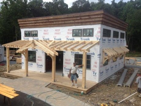 Office Building with Timber Frame Porch, Bethel, CT: Commercial Projects: Projects: Great Country Timber Frames