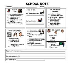 Daily communication sheet to inform parents of child's daily school activities. Space for teacher comments, as well as parent comments.