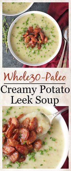 Paleo Creamy Potato Leek Soup- Whole30, dairy free, gluten free, and so delicious!
