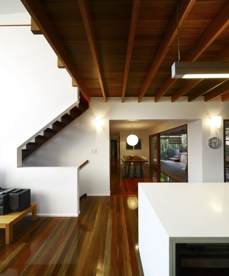 Extraordinary Mezzanine Design Ideas : Extraordinary Mezzanine Design With White Wall Wooden Beams And Wooden Dining Table Chair And Hardwood Floor