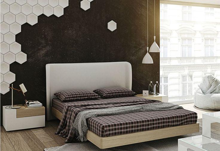 vestir la pared del cabecero cama de matrimonio con azulejos