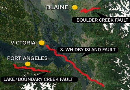 united states fault lines maps | ... of two earthquake fault lines that run into B.C., April 2008