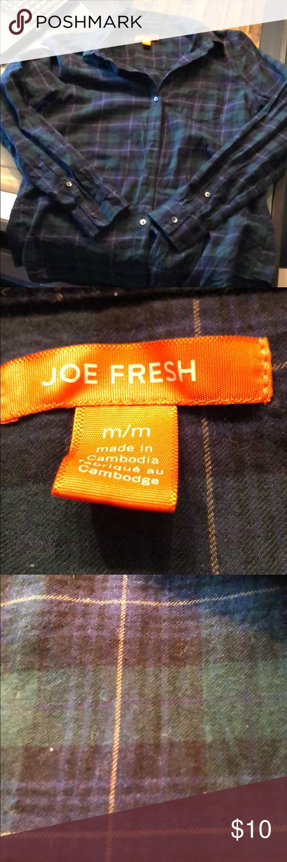 Super cute Joe Fresh plaid Super cute joe fresh plaid in navy and green!!! Joe Fresh Tops Button Down Shirts