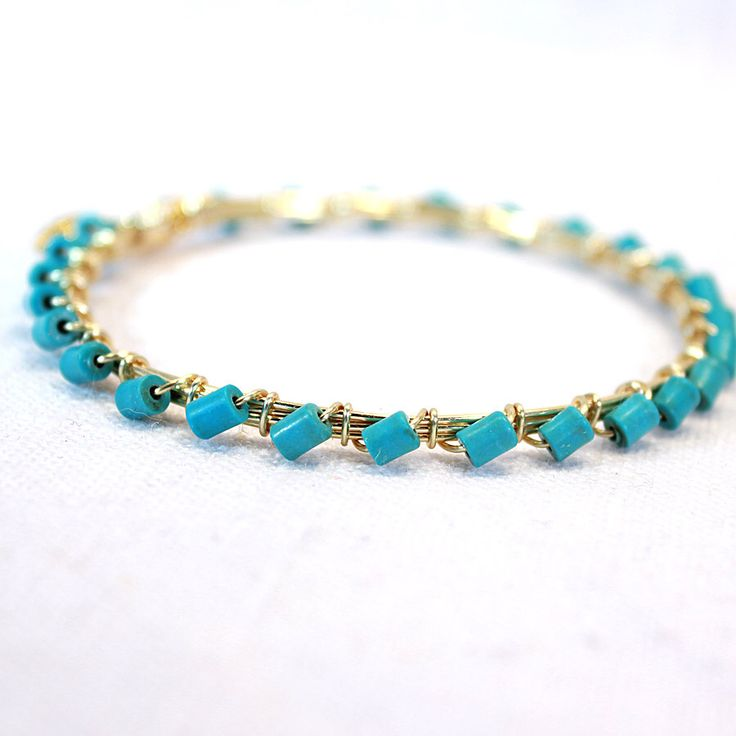 Turquoise Wire Wrap Bangle Southern Inspired Bourbon Boweties Stack Bangle Bracelets Gold Wire Wrap Bracelet by FallingLeafBangles on Etsy https://www.etsy.com/listing/228087900/turquoise-wire-wrap-bangle-southern