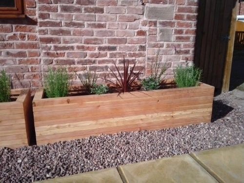large garden planter wooden trough outdoor patio extra rectangular flower plant