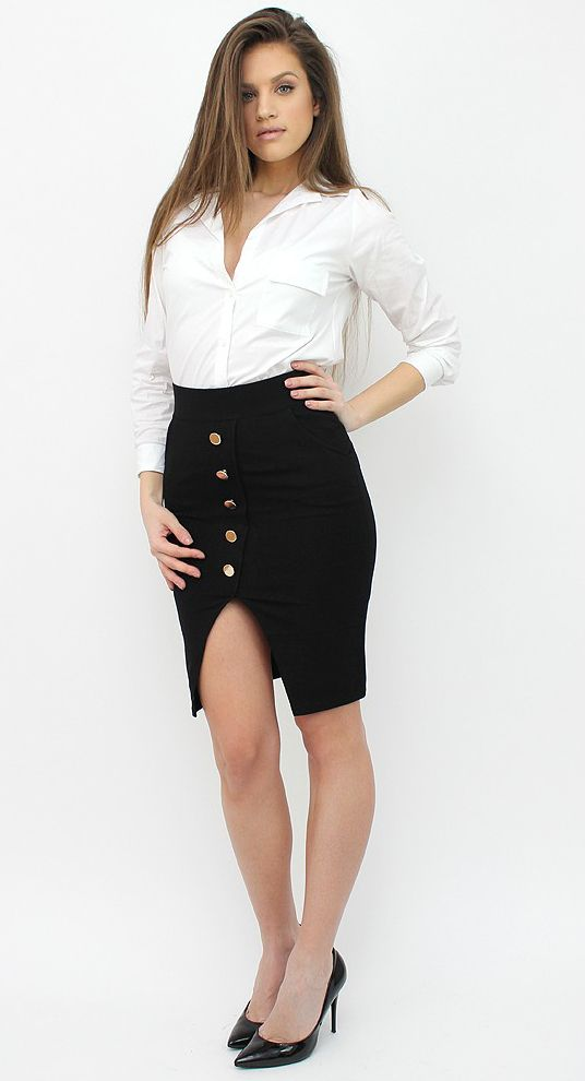 Chic Pencil Skirt with Golden Button details for boring working days or a meeting. http://famevogue.ro/haine_femei_85/pantaloni_scurti_si_fuste_88/fusta_creion_cu_nasturi_aurii  #skirt #office #style #fashion #trends