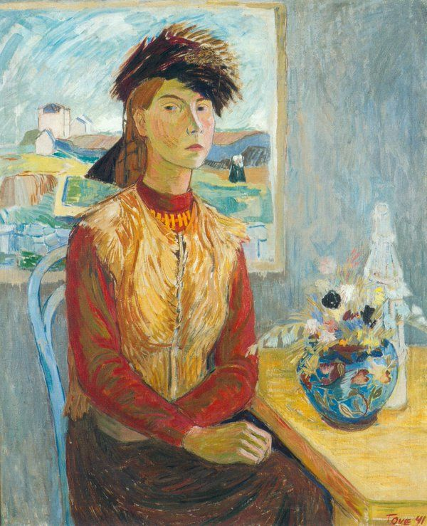 Self Portrait in a Fur Cap, 1941 by Tove Jansson, creator of the Moomin books #womensart