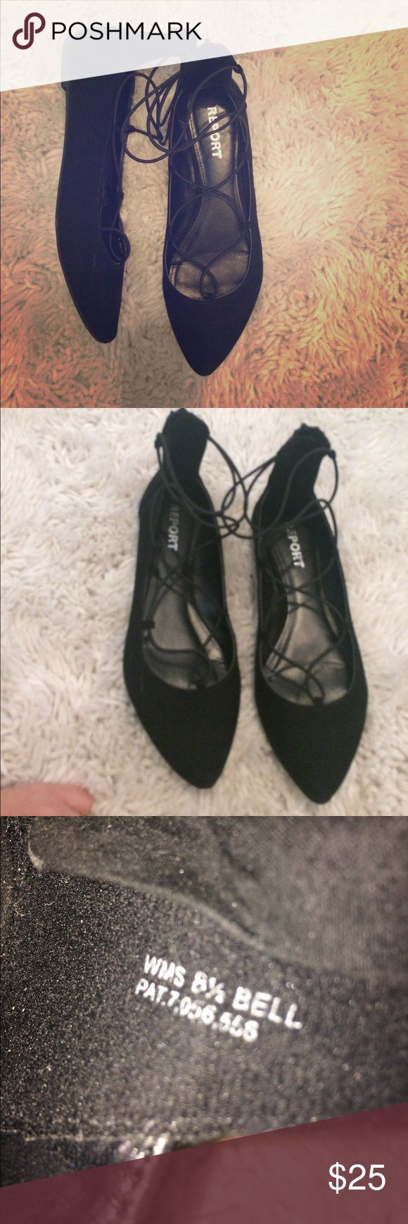 Report Bell elastic lace up ballet flats Worn Once! I started wearing nude flats more often but bought these for an event. Soft suede feeling outside and elastic lace up connected to a zipper Report Shoes Flats & Loafers