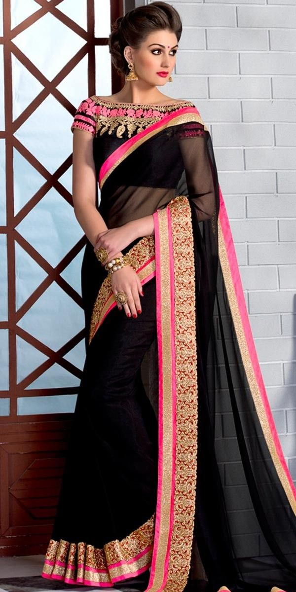 Stunning Black And Pink Color Georgette Saree.