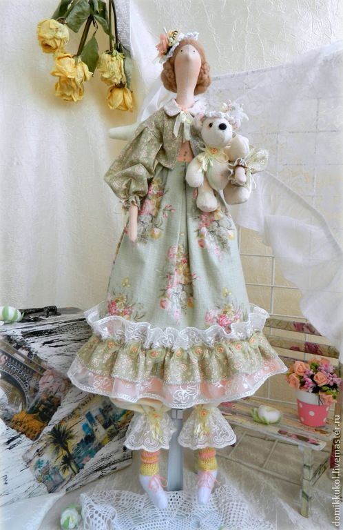 Купить Машенька - девочка с мишкой. Интерьерная кукла в стиле Тильда. - кукла Тильда
