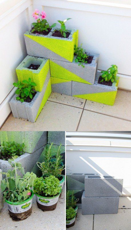 Cinder blocks recycled into modern planters