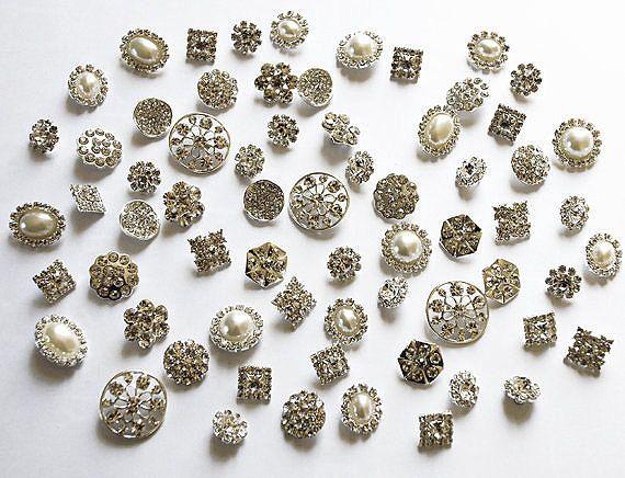 20 geassorteerde Rhinestone knop broche versiering Pearl
