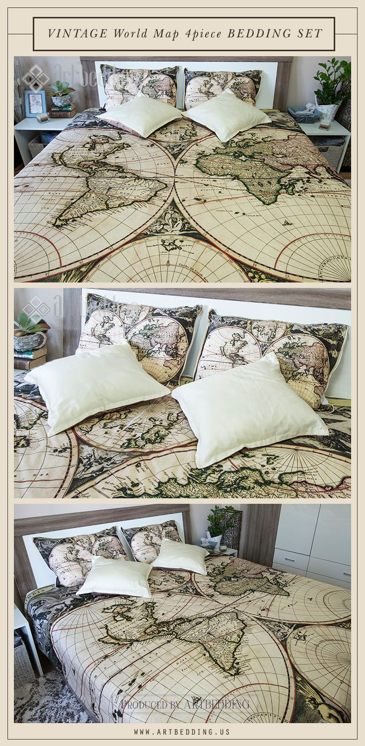 Vintage world map bedroom decor, vintage map bedding set. This is a 4 piece bedding set that includes a vintage world map duvet cover, 1 matching pillow covers and 100% organic cotton sateen in ecru / cream beige/. #artbedding