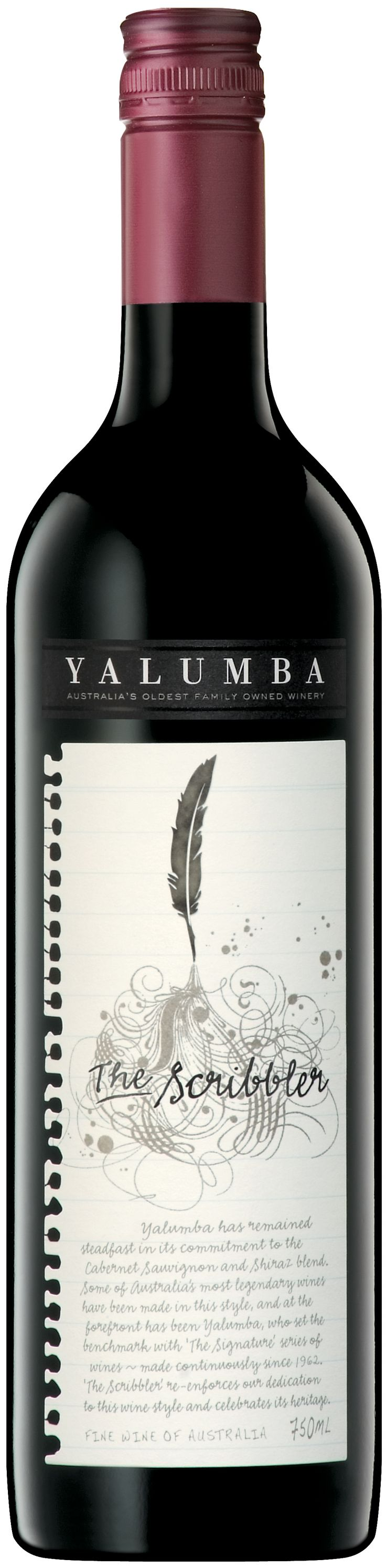 Yalumba - The Scribbler package design. Love the ripped out page treatment.