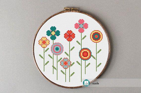 Happy flowers cross stitch patternmodern pattern PDF DIY