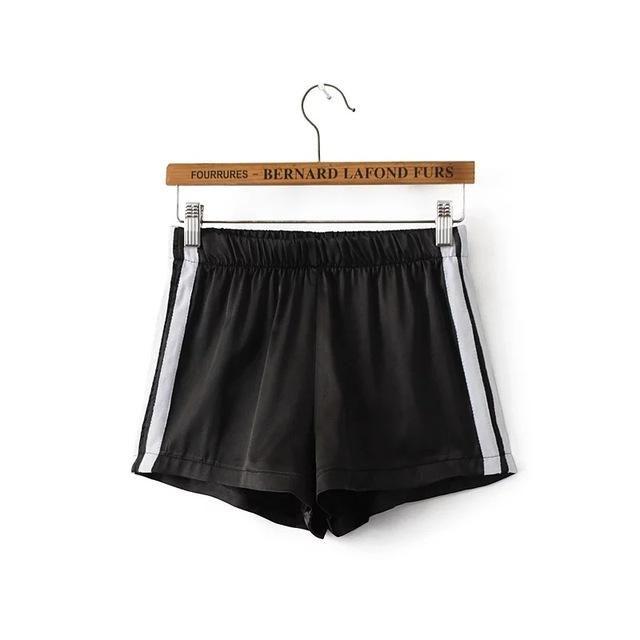 2017 summer sexy women satin high waist shorts casual pink black gray red green short feminino womens shorts