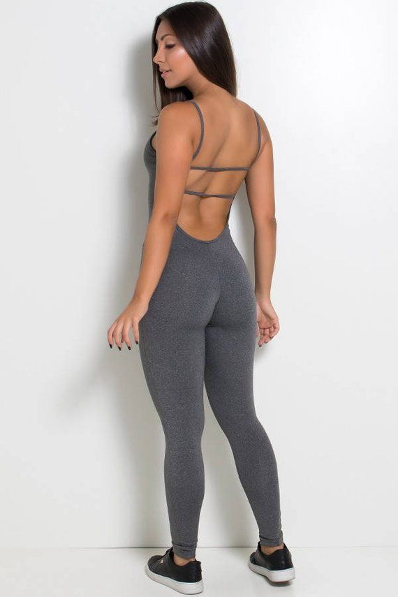 6dfbc383daae Heather Grey Strappy Unitard Bodysuit Catsuit Jumpsuit Brazilian Workout  Activewear