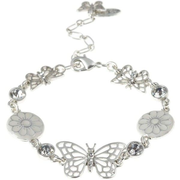 Silver butterfly charm bracelet (295 MXN) ❤ liked on Polyvore featuring jewelry, bracelets, accessories, butterflies, women's clothing, silver bangles, silver charm bracelet, butterfly jewelry, pilgrim jewellery and silver butterfly jewelry