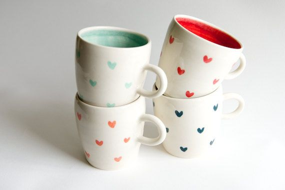 Coffee Mugs (set of 4) $104 - Heart Pattern in Teal Coral Red and Mint Handmade Ceramics | RossLab