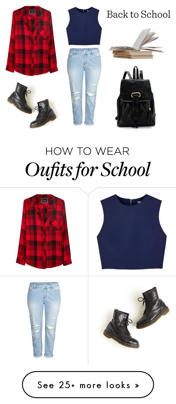 """""""Back to School Outfit"""" by its-lia-2001 on Polyvore featuring H&M, Dr. Martens, Alice + Olivia, Rails, BackToSchool, school and polyvorefashion"""