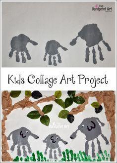 Kids Collage Art: Handprint Elephant Jungle Craft