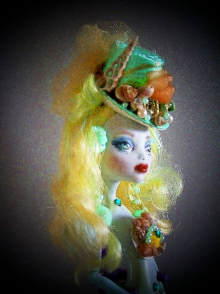 OOAK Mermaid Doll Steampunk Hat Gothic Doll Repaint Monster High Lagoona Doll #DollswithClothingAccessories