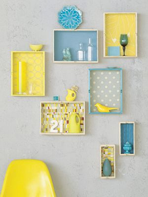 blue and yellow loveDecor, Ideas, Shadowbox, Old Drawers, Colors, Scrapbook Paper, Shadows Boxes, Display Shelves, Diy