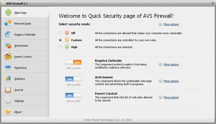 AVS Firewall. Protect your computer against hacker attacks.