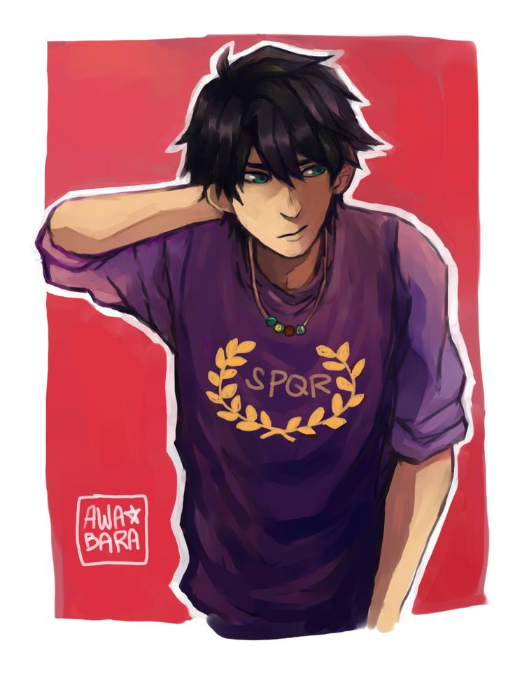 awabara:  percy in camp jupiter shirt (or i accidentally painted it purple and too lazy to change it)something i made for double meme with my friend. she just read pjo and asked for percy… still waiting for her version of this drawing tho