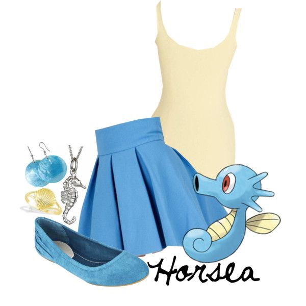 Horsea Created by shoelacekid Pokemon, earrings, necklace, shoes, skirt, shirt, outfit, video games, nintendo, accessory, jewelry, idea/concept.
