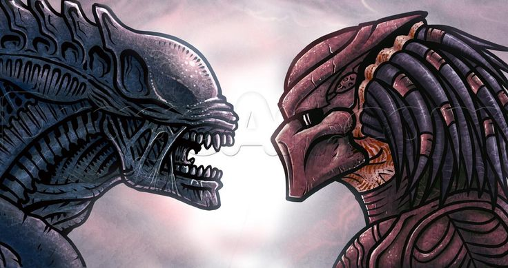 We're going to draw a Predator vs Alien faceoff in a simple style. Description from dragoart.com. I searched for this on bing.com/images