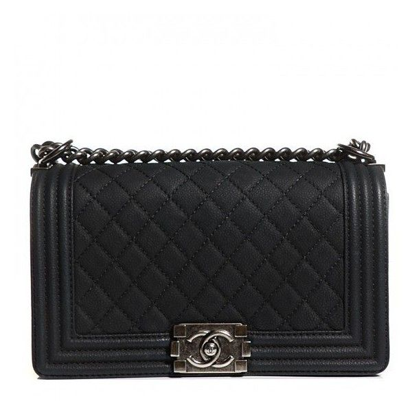 CHANEL Iridescent Caviar Quilted Medium Boy Flap Black found on Polyvore featuring bags, handbags, shoulder bags, clutches, black quilted shoulder bag, leather purse, chanel purses, black purse and black leather handbags