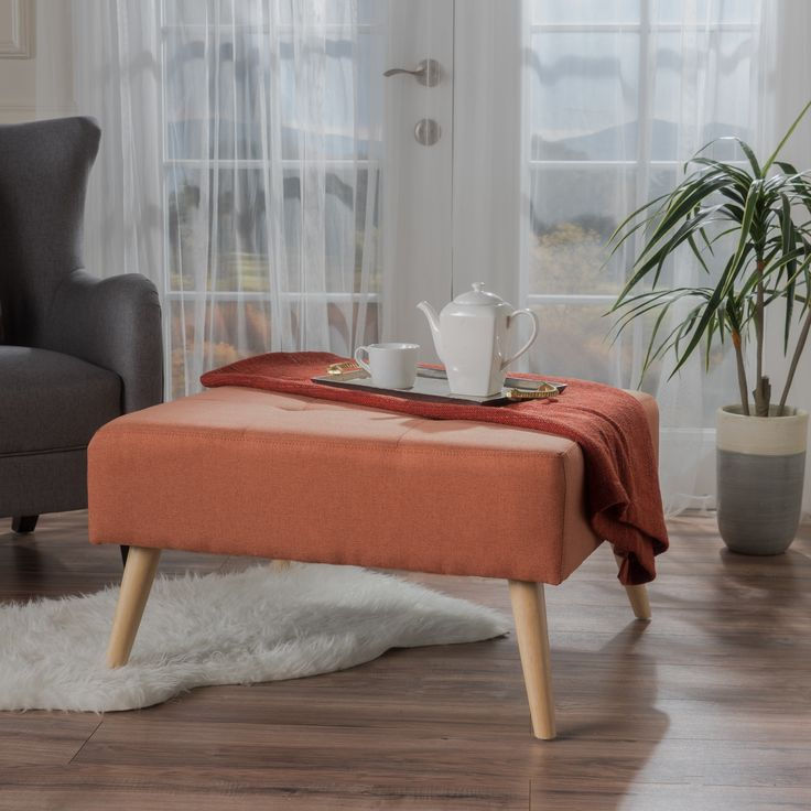 Omry Mid-Century Fabric Ottoman by Christopher Knight Home (Orange)