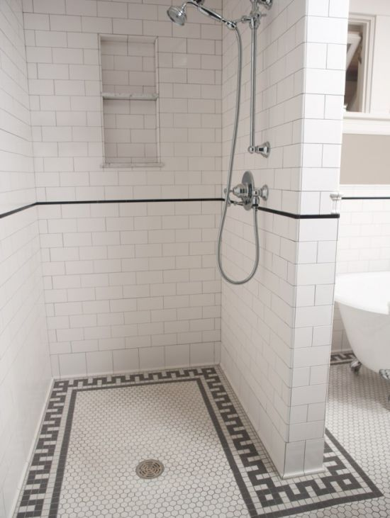 Love the design if this open shower with no door. Not all the tile so much.