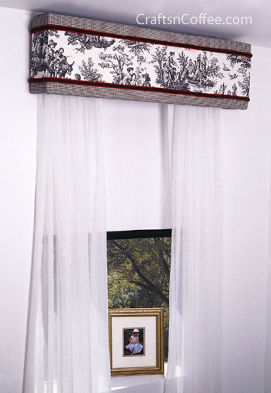 Another DIY window cornice -- elegant! Made from sheets of STYROFOAM so there are no power tools & no power lifting. #DIYWindowCornice