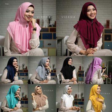 Jilbab Instan / Hijab Khimar Vierna double ceruti,Khimar softpad antem dengan variasi rempel plisket di bagian depan khimar, menggunakan material double layer sifon ceruti, praktis, WA +6289681170196