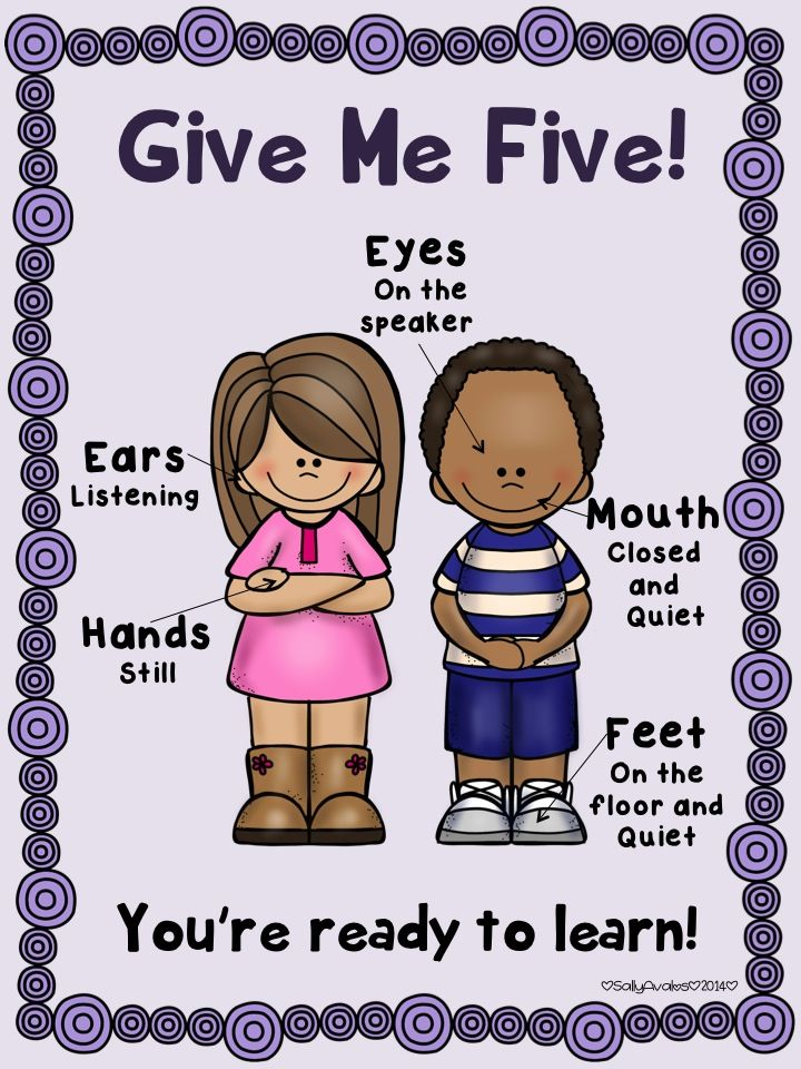 """""""Give Me Five"""" is a powerful classroom/behavior management system to get the attention of your students right away.  This is a poster to help you use this attention grabber signal in your class visually.  I have included a color and a black and white copy. $1"""