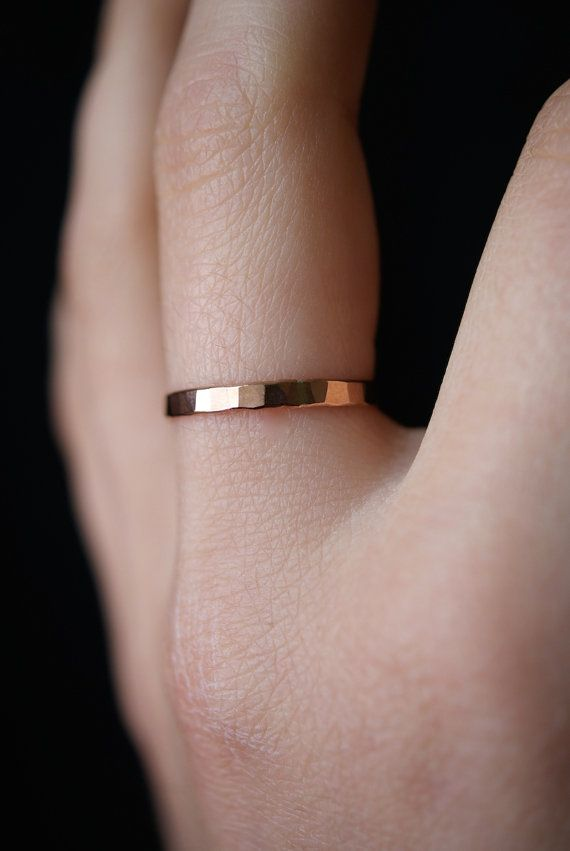 Hammered Rose Gold Stack ring 2-2.5 mm. One